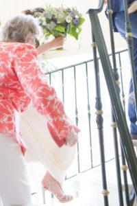 Contre jour de la robe de la mariée, mai 2017
