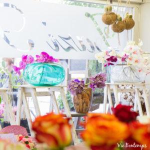 contre jour de la vitrine de sandrine atelier zazi fleuriste au havre
