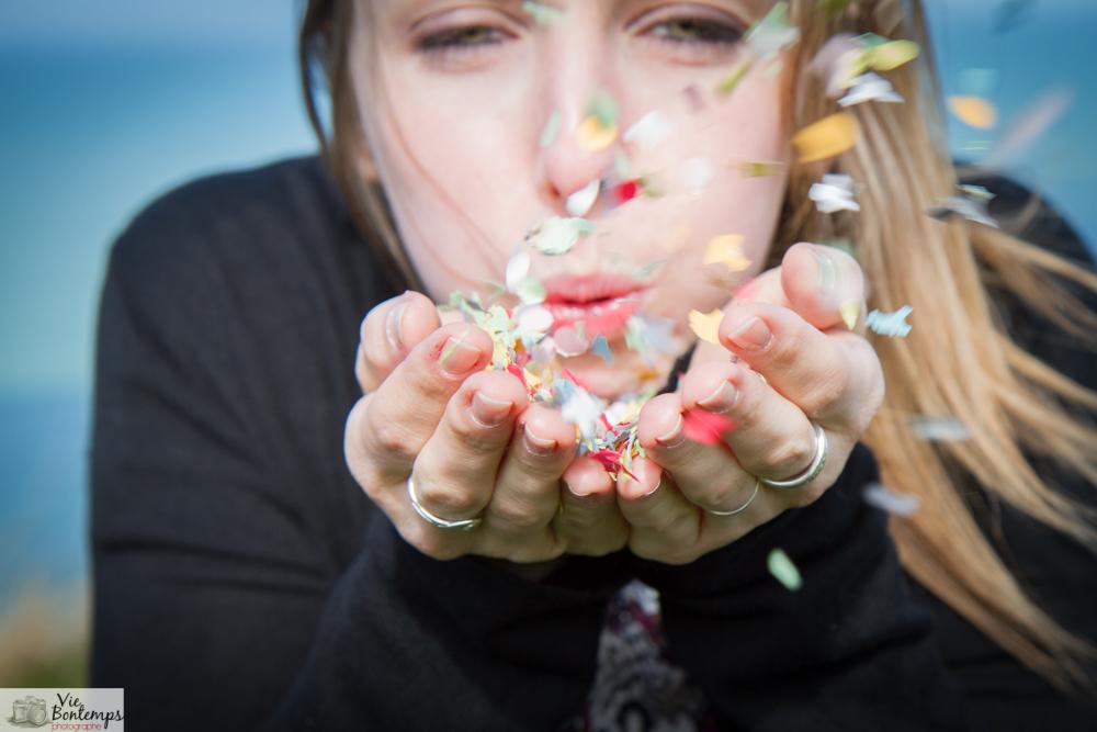 séance photo EVJF photographe normandie confetti